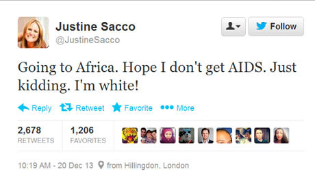 Justine Sacco's offensive and racist tweet